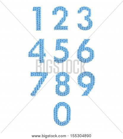 Numerals alphabet on a blurry texture knitted pattern of woolen thread closeup. More figure of the alphabet. Education and holidays. Typography design. Color blue