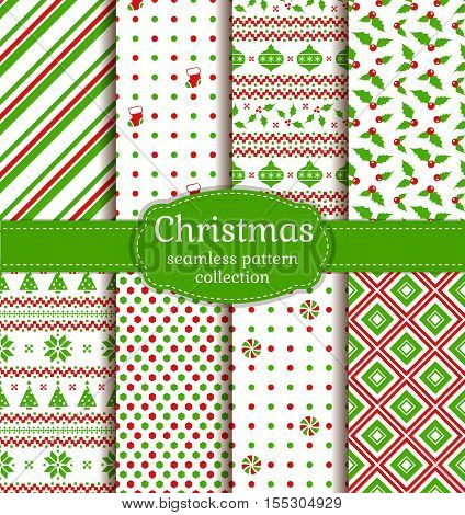 Merry Christmas and Happy New Year! Set of colorful seamless backgrounds with christmas balls holly socks christmas tree candy Norwegian ornament and abstract patterns. Vector collection.