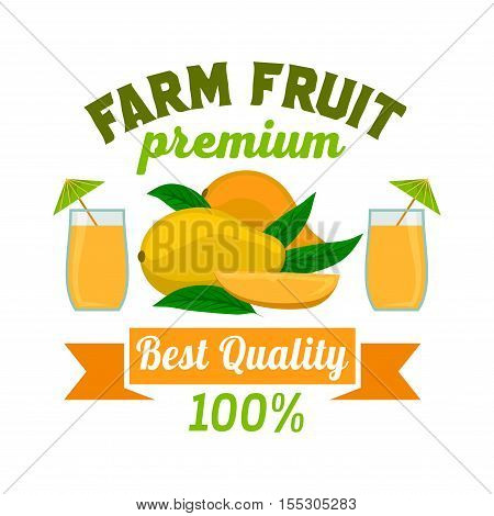 Mango. Premium exotic tropical fruit juice emblem. Vector icon of whole and half cut juicy fruit with fresh juice glass. Label cafe, vegan drink bar sign sticker, grocery farm store