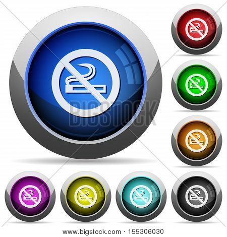 No smoking sign icons in round glossy buttons with steel frames