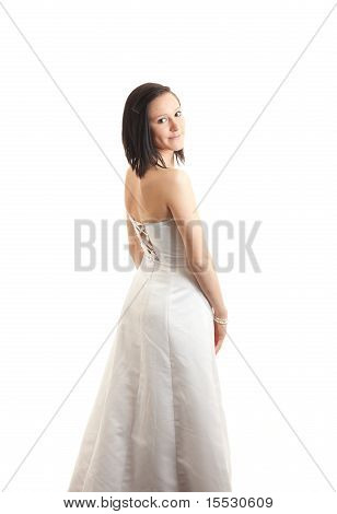 Young Woman Dress Back Isolated