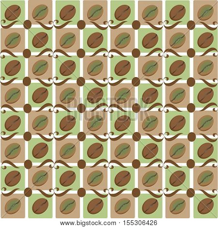 Coffee bean. Checkerboard. Pattern design for textiles, tiles, tapestries, napkins, wrapping paper.