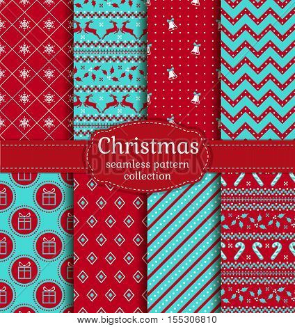 Merry Christmas and Happy New Year! Set of cute seamless backgrounds with traditional holiday symbols: bells snowflakes reindeer holly candy cane gifts and abstract patterns. Vector collection.