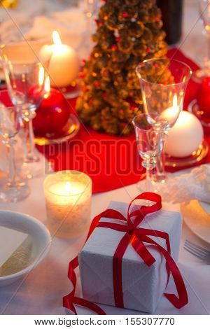 Candlelight On A Table Decorated Beautifully For Christmas