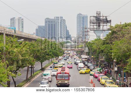 Bangkok Thailand - May 07 2016: Traffic jam on chatuchak Road at chatuchak market in bangkok thailand. traffic jam is one of worse issue of Bangkok.
