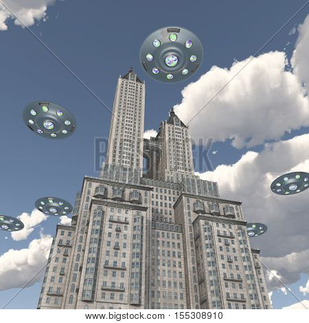 Computer generated 3D illustration with flying saucers over a skyscraper