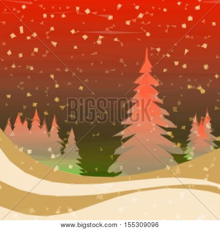 Christmas Fairy Landscape, Low Poly Background for Holiday Design, Winter Forest with Fir Trees and Snow. Vector
