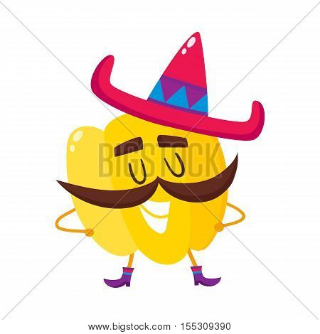 Smiling bell pepper with thick moustache and Mexican sombrero, cartoon vector illustration isolated on white background. Humanized Mexican bell pepper with large whiskers, boots and sombrero