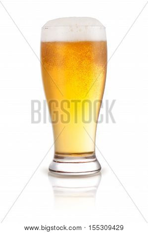 Fresh beer in a glass isolated on a white background.