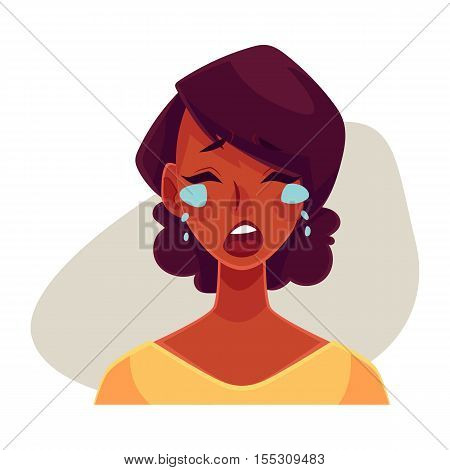 Pretty African girl, crying facial expression, cartoon vector illustrations isolated on gray background. Black woman crying, shedding tears, sad, heart broken, in grief. Angry face expression