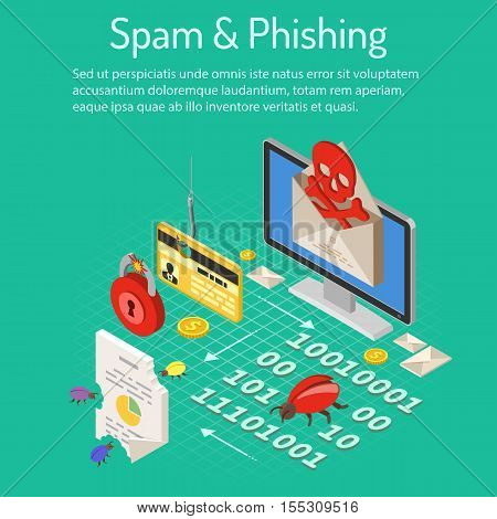 Internet security with Spam and Phishing Concept with isometric flat icons like spam, virus, credit card on hook and bugs. vector illustration.