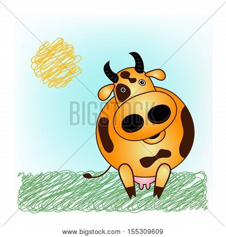 Vector brown spotted cow. Cartoon character funny domestic animal cow on green grass. Logo dairy farm.