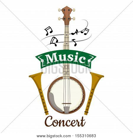 Music concert vector emblem with vector elements of folk and ethnic string musical istruments. concert poster design