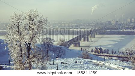 Panoramic view from the Fedorovsky embankment on Kanavinsky bridge and the Nizhny Novgorod Trade Fair in Nizhny Novgorod city in winter time