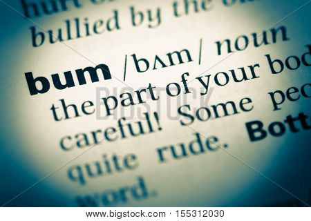 Close Up Of Old English Dictionary Page With Word Bum