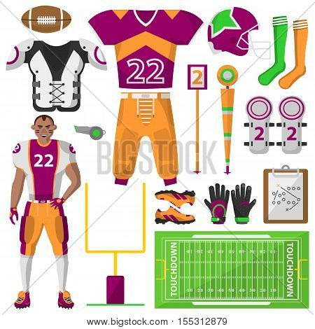 Football icons set. Football, sport equipment and uniform for workout and tournament. Equipment used in the sport. Vector isolated illustration on white background.