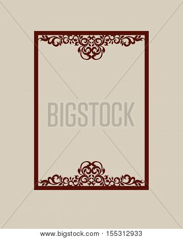 Abstract square photo frame with swirls. Pattern is suitable for greeting cards invitations menus design interiors etc. Template suitable for laser cutting or printing. Vector