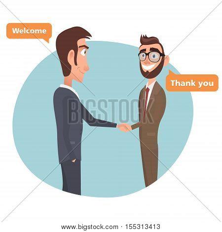 Cartoon We rectuited. Partnership Deal.EPS 10 vector man