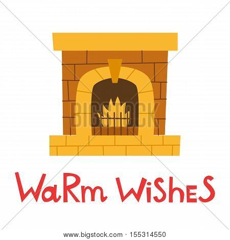 Vector Cartoon Isolated Fireplace Icon