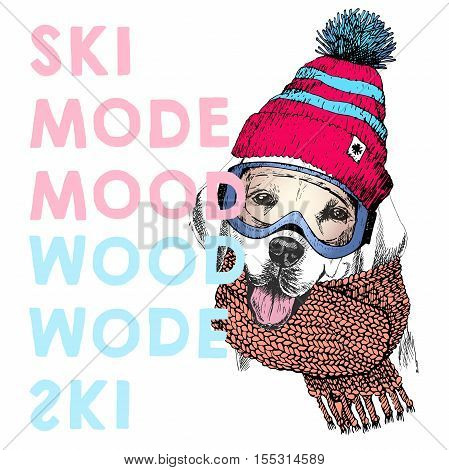 Vector poster with close up portrait of labrador retriever dog.Ski mode mood. Puppy beanie scarf and snow goggles.Hand drawn illustration.Use for sport shop resort ski-rent promotion print design.