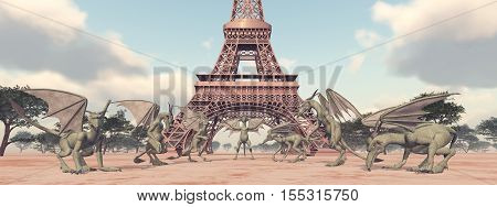 Computer generated 3D illustration with Gargoyles in front of the Eiffel Tower