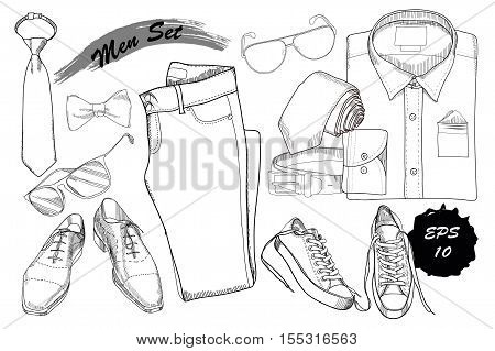 Vector illustration hand drawn vector photo bigstock vector illustration of hand drawn doodle coordination folded shirt tie trousers shoes ccuart Gallery