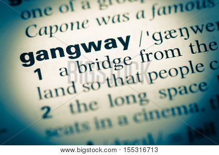 Close Up Of Old English Dictionary Page With Word Gangway