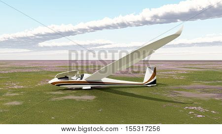 Computer generated 3D illustration with a glider on the ground