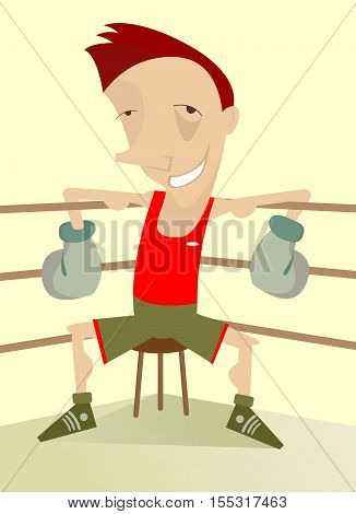 Smiling boxer. Smiling boxer with a black eye is sitting in the corner of the ring