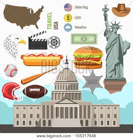 USA culture symbol set. Europe Travel USA direction concept. Vector icons. Flat isolated illustration