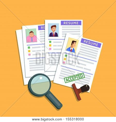 Vector flat illustration of a resume cv icon on yellow background. Recruiting employment human resources team management accepted concept. Find person for job opportunity