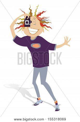 Photographer. Funny woman photographer makes a shot
