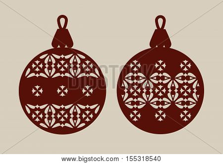 Christmas balls with lace pattern. Template for greeting card banner invitation for New Years design party or interiors. Picture perfect for laser cutting plotter cutting or printing