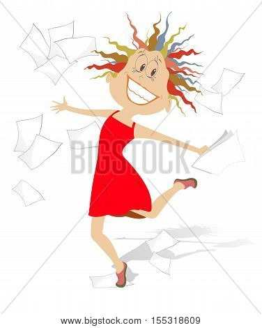 Happy woman. Lucky woman toss up papers