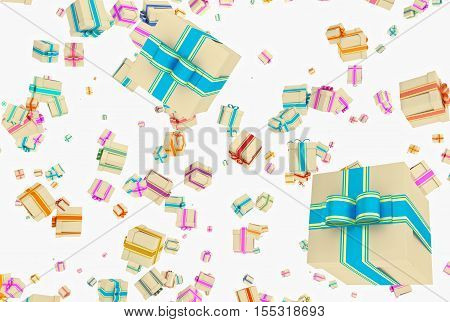 Background With Falling Presents