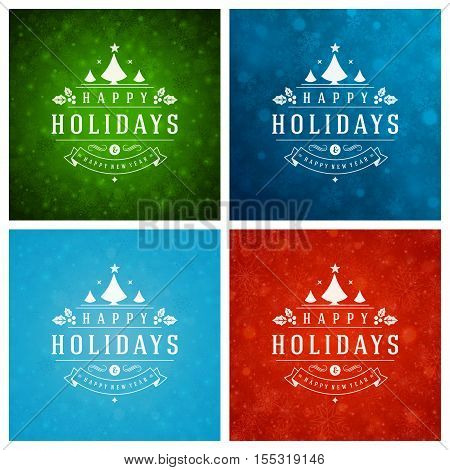 Christmas Typography Greeting Cards Design Set. Merry Christmas and Holidays wishes decoration. Christmas lights and Snowflakes Backgrounds. Vector illustration EPS 10.