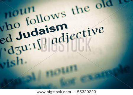 Close Up Of Old English Dictionary Page With Word Judaism
