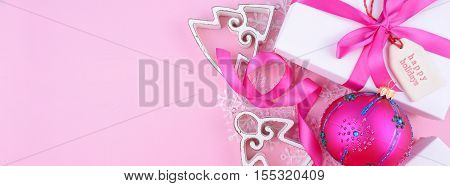 Modern Festive Pink Theme Christmas Holiday Banner.