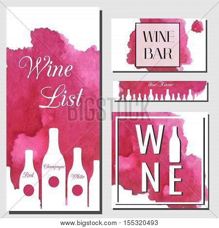 Wine cards design template. Vector flyer collection. Artistic banners cards for wine bar wine shop menu with watercolor splash and bottles