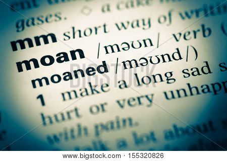 Close Up Of Old English Dictionary Page With Word Moan