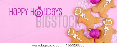 Pink Christmas Holiday Background With Gingerbread Cookies Banne