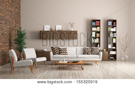 Modern Living Room Interior 3D Rendering