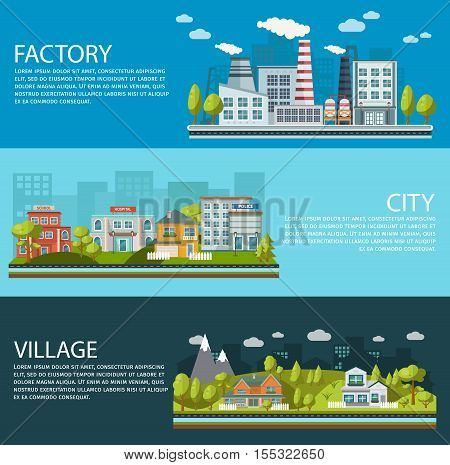 Forest elements horizontal banners set with environmental infrastructure of city factory and village isolated vector illustration