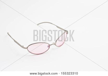 Eyeglasses frame isolated on white with .lens Pink