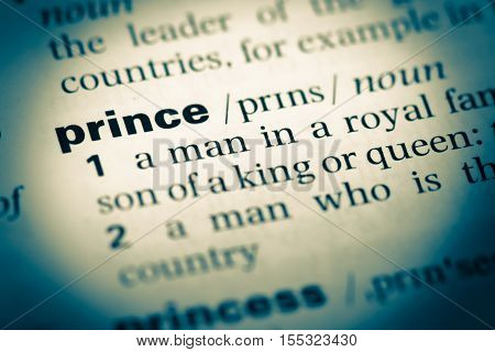 Close Up Of Old English Dictionary Page With Word Prince