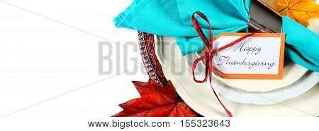 Happy Thanksgiving Autumn Colors Place Setting Social Media Banner