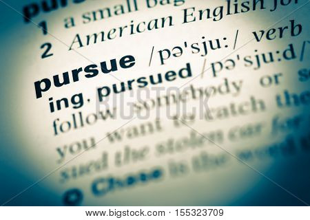 Close Up Of Old English Dictionary Page With Word Pursue