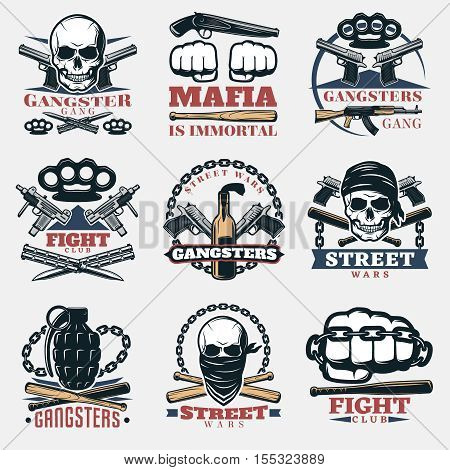 Nine isolated mafia and gangster emblems set with various symbols of fists guns and skulls flat vector illustration
