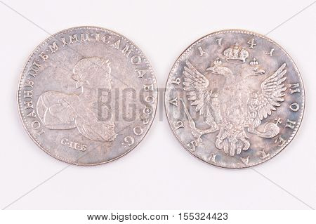 Coins ruble silver Russian 1741 Emperor John III Autocrat of all Russia
