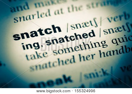 Close Up Of Old English Dictionary Page With Word Snatch